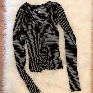 Hollister Striped Long Sleeved Ruched Top XS NWOT